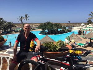 Mark Rushby, Peninsula Tri club enjoying his Primed Coaching triathlon training camp in Lanzarote